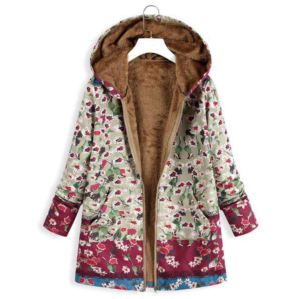 JOFOW Womens Jackets Parka Boho Flowers Floral Print Fleece ...