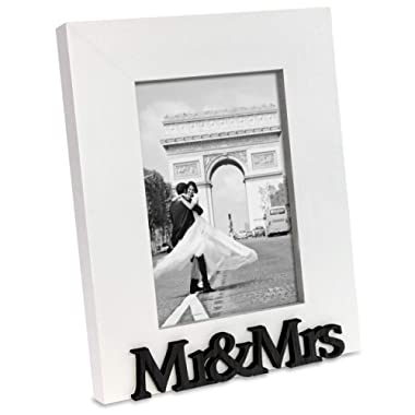 "Isaac Jacobs White Wood Sentiments ""Mr & Mrs"" Picture Frame, 4x6 inch, Newlywed Photo Gift for Wedding, Display on Tabletop, Desk (White)"
