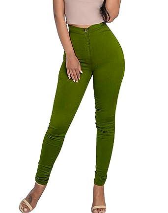 Minetom Femme Sexy Taille Haute Couleur Solide Stretch Pantalon Serré Slim  Collant Push Up Leggings Jambières 9dc80106dfc9