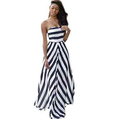 0b55862876 HODOD Summer Fashion Women s Vintage Bohemia Style Stripe Long Maxi dress  Evening Party sleeveless Beach Dress at Amazon Women s Clothing store