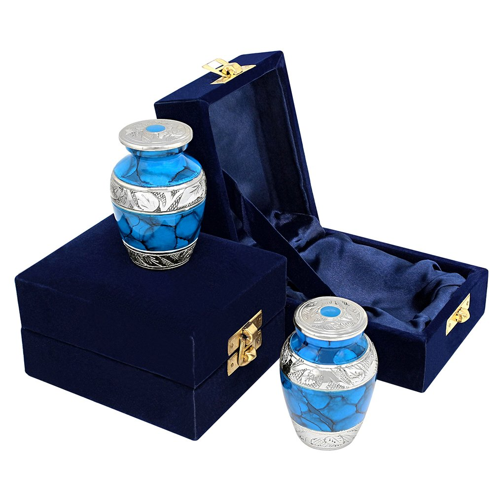 Forever Remembered Classic Blue Small Cremation Keepsake Urns for Human Ashes - Set of 2 - Beautiful and Timeless Find Comfort Everytime You Look at These High Quality Urns - with Blue Velvet Case