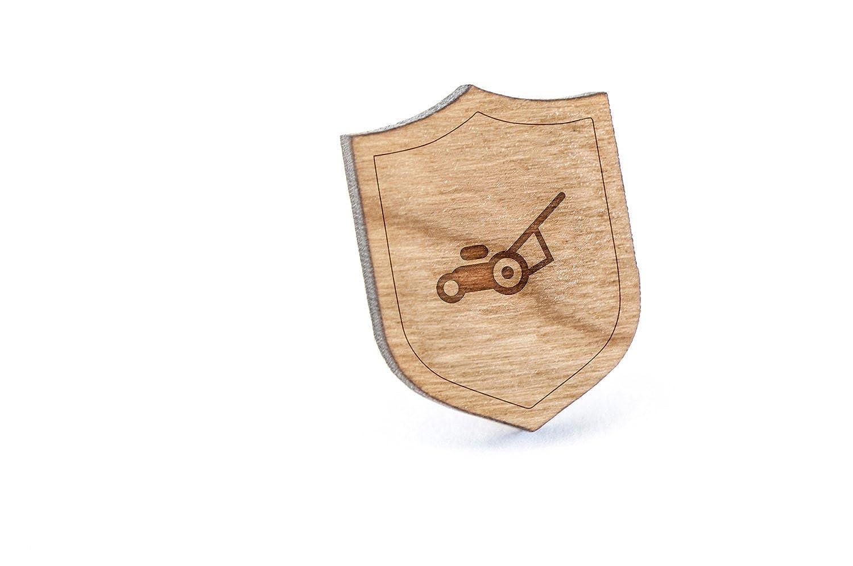 Wooden Pin Lawnmower Lapel Pin