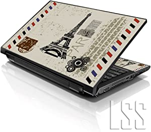 """LSS 15 15.6 inch Laptop Notebook Skin Sticker Cover Art Decal Compatible with 13.3"""" 14"""" 15.6"""" 16"""" HP, Dell, Lenovo, Apple, Asus, Acer (Free 2 Wrist Pad Included) - Paris Design"""