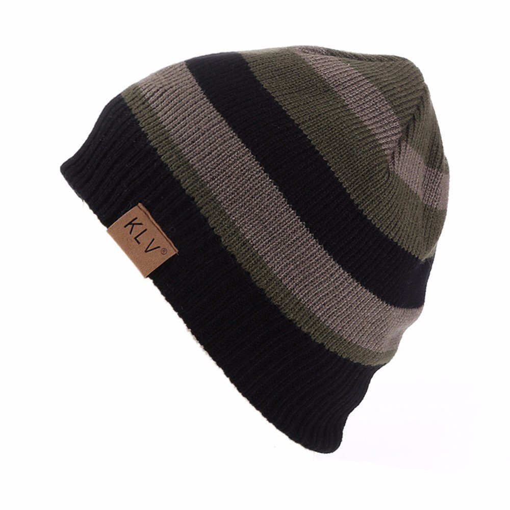 c0f742816edb5 Amazon.com  Challyhope Fleece Lined Crochet Beanie Hat Mens Winter Color  Block Warm Knit Ski Skull Cap Caps (Army Green