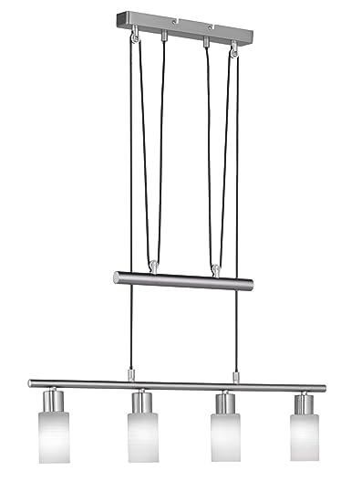 Trio Leuchten LED-JoJo-Pendelleuchte Nickel matt, Glas weiß gewischt 371410407