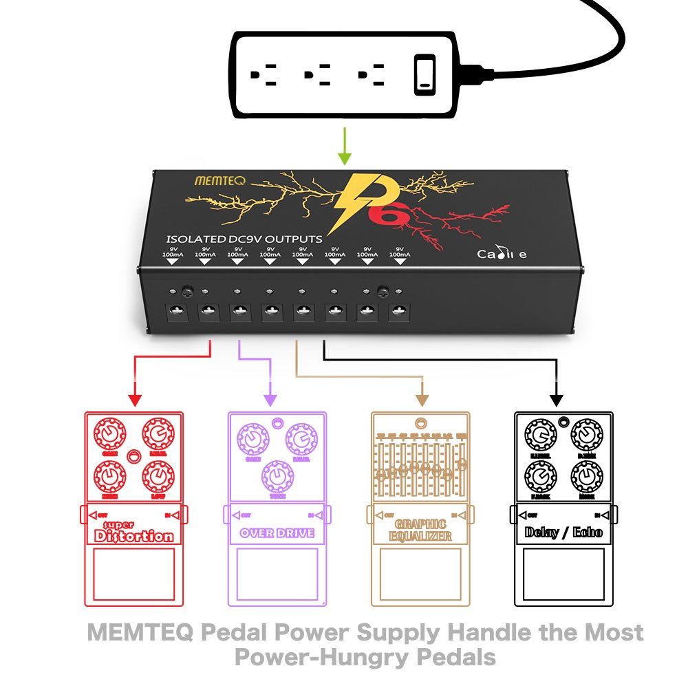 Isolated Pedal Power Supply Memetq 8 Dc Output For 9v Short Circuit Protection To Your Effects Pedals Boards Supplies With Over