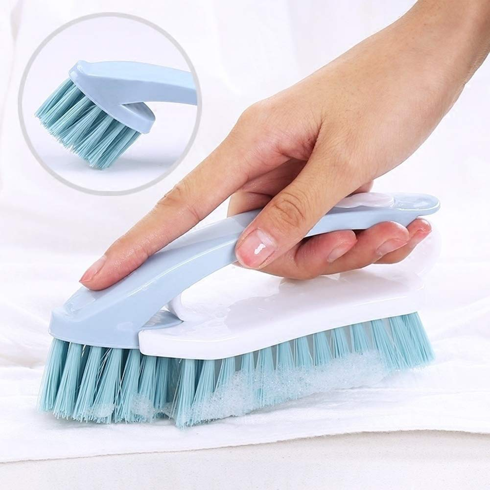 dSNAPoutof 2 in 1 Home Plastic Scrubbing Cleaning Clothes Floor Jeans Shoes Brush Blue Random Color