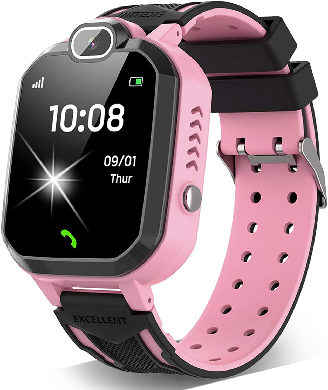 Kids Smart Watch for Boys Girls - Kids Smartwatch Phone with Calls 7 Games Music Player Camera Alarm Clock Calculator SOS Calendar Touch Screen Children's Smart Watch for Kids Birthday Gifts(Pink)