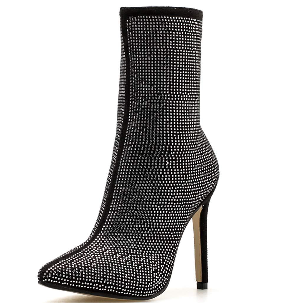 GoldGOD Frauen Damen High Heels Strass Pailletten Spitzen Damen Stiefel Fein Mit Party Schuhe,schwarz,35