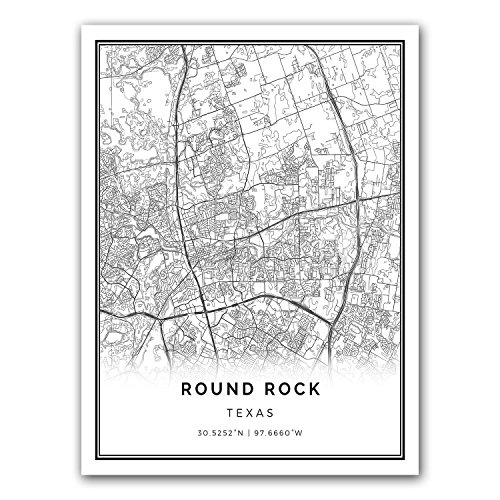 Round Rock map poster print | Modern black and white wall ar