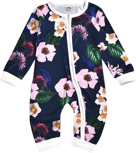 MYONA Bodies Bebé Manga Larga, Recién Nacido Pijama con Estampado de Flores Bebé Mono Mameluco Bodies Peleles Traje para Bebé con Cremallera Otoño Invierno Sleepsuit Jumpsuit Unisex 0-24M: Amazon.es: Ropa y accesorios