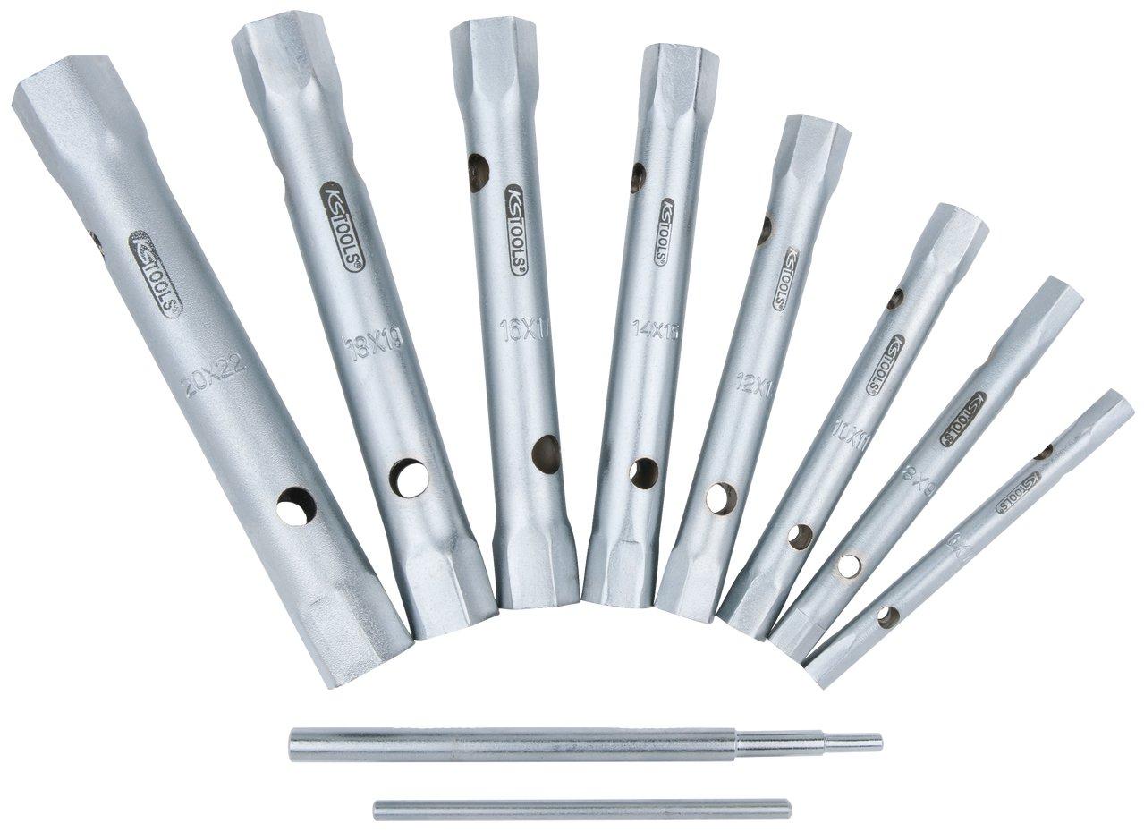 KS Tools 518.0900 - Pack de 10 piezas con llaves de vaso para tubos (entrecaras 6 x 7-20 x 22 mm) 4042146243503