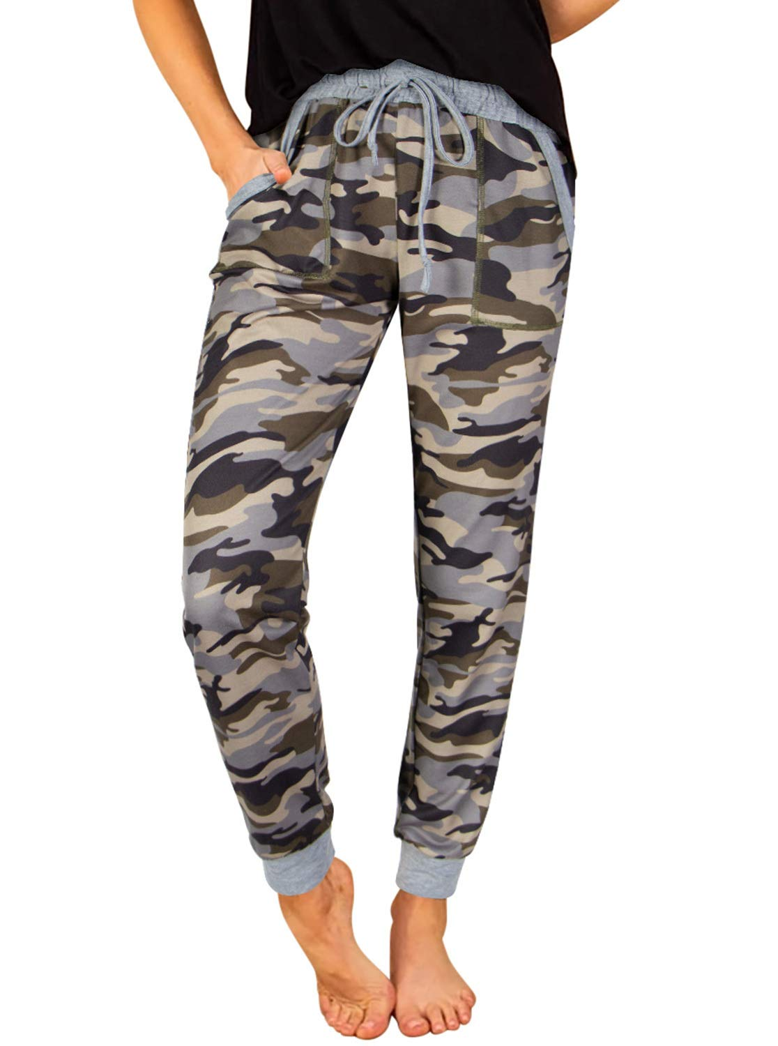 NIMIN Womens Jogger Sweatpants Drawstring Elastic Waist Comfy Stretchy Workout Leopard Pants with Pockets
