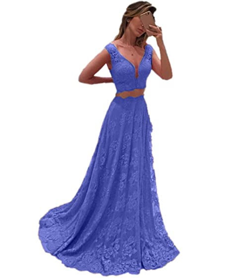 Promworld Womens V-Neckline Lace Graduation Party Dress Two Piece Prom Dresses Blue US2