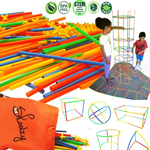 Skoolzy Straw Structures Interlocking Connecting Engineering Construction Kit - 200 Pc Straws and Connectors STEM Set Preschool Fine Motor Skills Building Toys for Boys & Girls -Free Activity Download Ship Old Pc