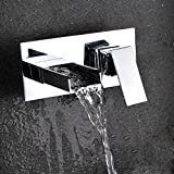KunMai Modern Waterfall Square Wall Mount Bathroom Sink Faucet with Open Spout Polished Chrome