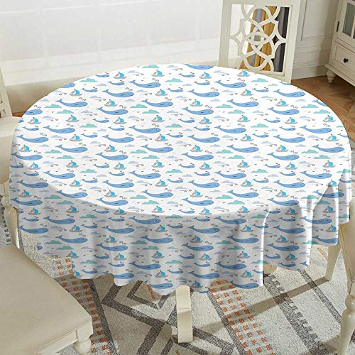 outdoor round tablecloth 70 Inch Whale,Marine Life Illustration for Kids Ships Clouds and Wind Fairytale Happiness,Pale Grey Blue White Suitable for traveling,outdoors,family,restaurant,coffee shop Mo - Marine Blue Pool Tablecloth