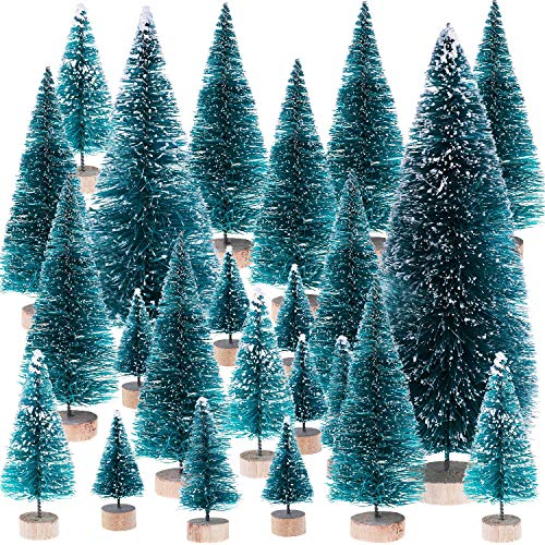 Leinuosen Mini Christmas Trees Artificial Sisal Trees Snow Frost Ornaments with Wooden Bases for Christmas Home Party Decoration, 6 Sizes (51 Pieces)