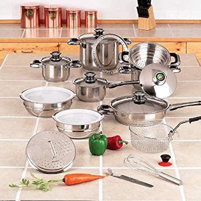"Chef's Secret® 22pc 12-Element Super Set with High-Quality Stainless Steel and Extra Large 11"" Frypan"