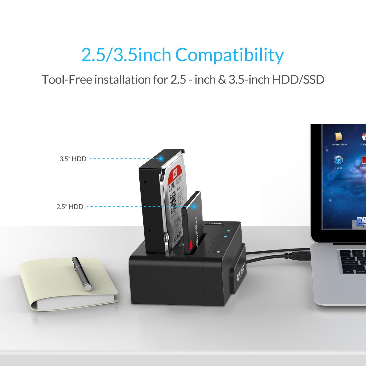 Orico Dual Bay 25 35 Inch Usb 30 Sata Hard Drive Docking 6228us3 C 2bay Harddisk Station Duplicator For Hdd Black Computers Tablets