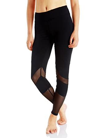 da3d7775916df Evobak Yoga Pants Leggings Stylish Workout Active Wear with Mesh Pocket Non  See Through Women's Black Tights Tummy Control: Amazon.in: Clothing & ...