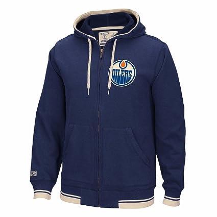 CCM Edmonton Oilers NHL Navy Blue Fashion Fleece Full Zip Throwback Team  Logo Hoodie for Men ae476f6c3