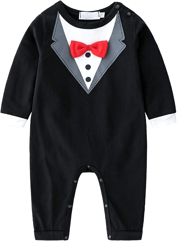 Newborn Baby Boy Formal Gentleman Shirt Romper Jumpsuit Birthday Party 3-14M