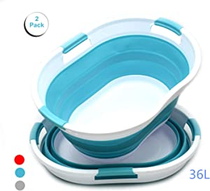 SAMMART Set of 2 Collapsible Oval Laundry Basket - Foldable Storage Container/Organizer - Portable Washing Bin - Space Saving Hamper - Car Trunk Storage Box/Pet Bath Tub (2, Bright Blue)