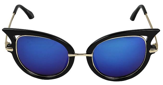 9571457c9c4 Amazon.com  ShadyVEU- Womens Designer Round Winged Mirrored Modern Cat Eye  Rimmed Sunglasses (Black   Gold Frame