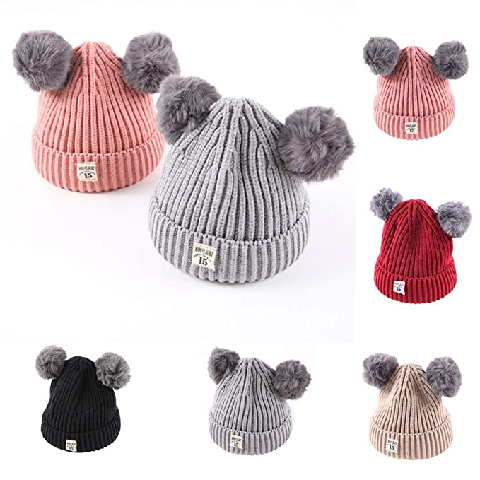 52e9d994cdd Amazon.com  Cute Baby Beanie Hats for Boys Girls Cap Cotton Letter Knitted  Ball Warm Children Hats (Beige)  Clothing