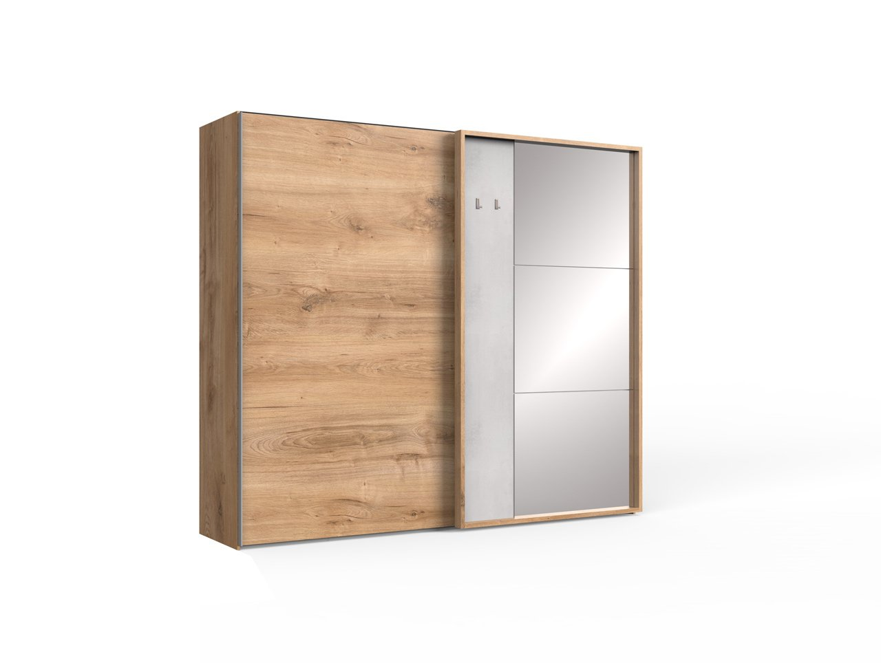 lifestyle4living Kleiderschrank 2-türig in Eiche-/Beton-Dekor | Schwebetürenschrank mit Spiegel und viel Stauraum, ca. 250 cm breit