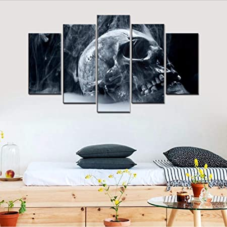 Zxfcczxf Sans Cadre Fumeur Tête De Crâne Nature Morte Toile Imprimée 5 Panneaux Gris Peinture De Peinture Pour Chambre Maison Décoration Murale
