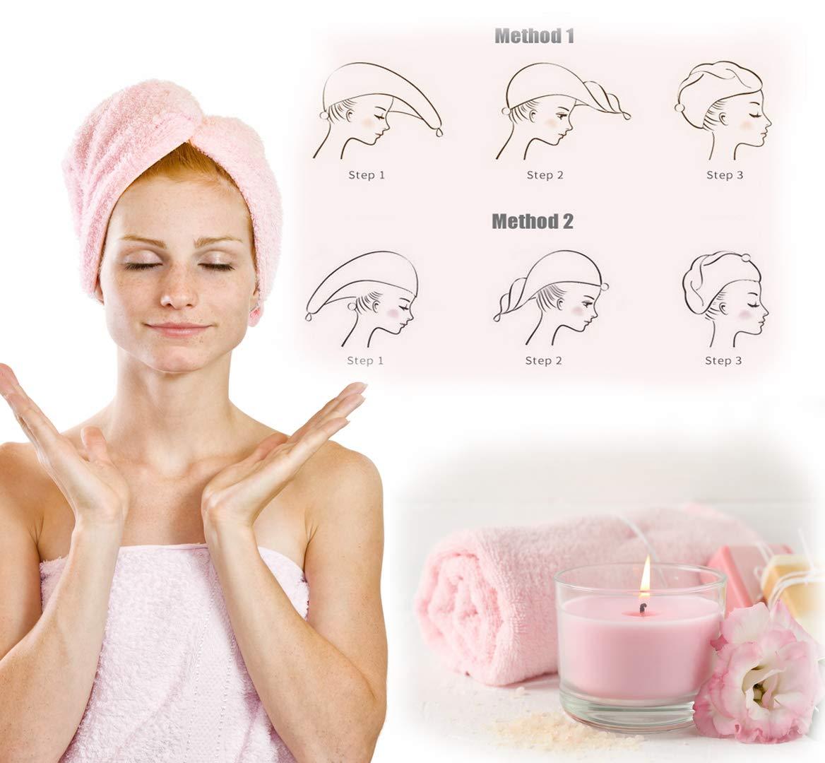 65 x 26 cm Mikrofaser Haarturban Saugstark mit Knopf 2 St/ück Turban Handtuch f/ür langes und dickes Haare Badeturban Haartrockentuch f/ür Frauen