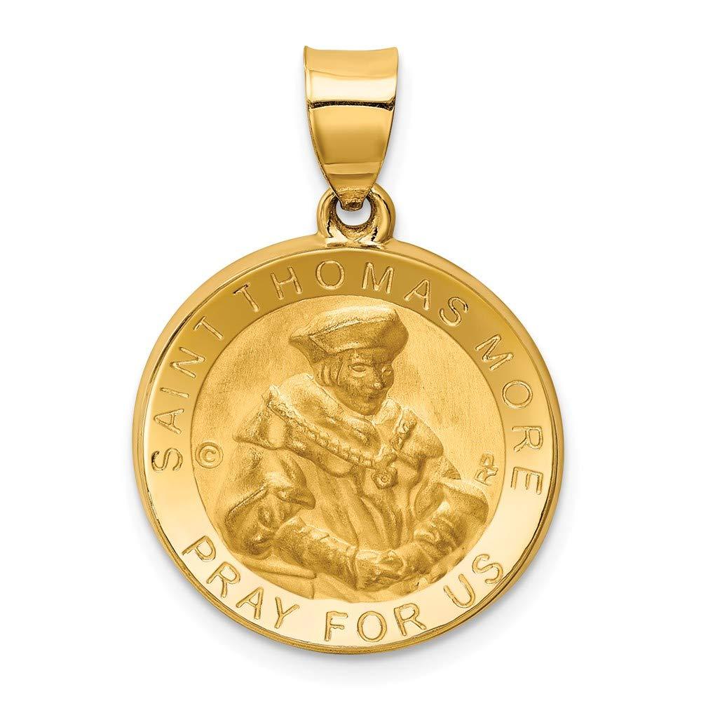 Thomas More Hollow Medal Pendant Mia Diamonds 14k Yellow Gold Polished and Satin St
