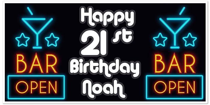 amazon com 21st birthday banner open bar lighted signs birthday