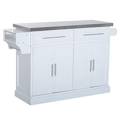 HomCom 36u201d Deluxe Modern Large Kitchen Island Rolling Cart With Stainless  Steel Top And Storage