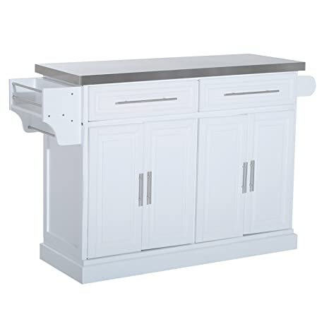 Homcom Pine Wood Stainless Steel Multi Storage Portable Rolling Kitchen Island Cart With Wheels White