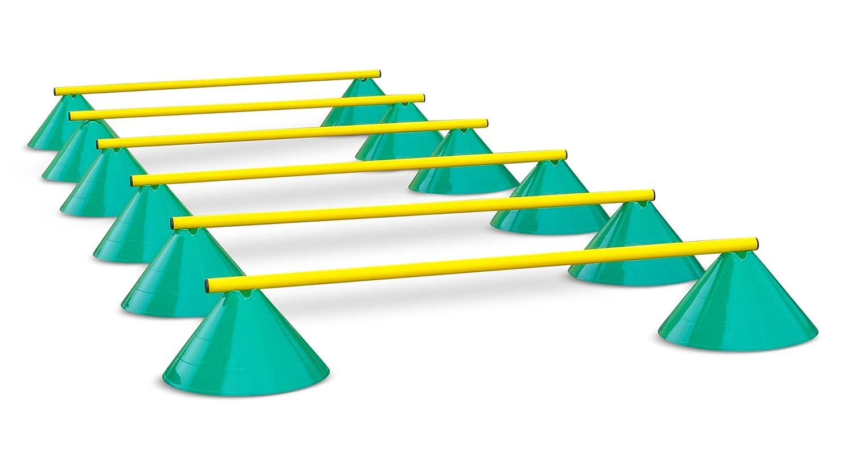 Hürden für Koordinationstraining - Hütchen und Stangen - 100 CM - Grün-Gelb HAEST KO-VX-HKH-100GR