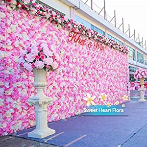 Flameer 40X60cm Artificial Silk Plastic Rose Flower Panel Wall Decoration Decorative Grass Turf Wedding Venue Backdrop Decor - Flower A, 40x60cm 5