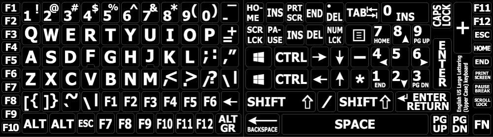 English US Large Letters Keyboard Stickers Non Transparent Black Background (Upper Case) Online-Welcome