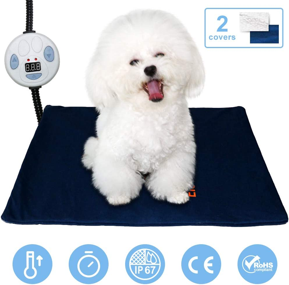 Pet Heating Pad,Indoor Heat Bed for Dogs Cat,Pet Warm Pad with Chew Resistant Cord,Washable Cover,Adjustable Temperature