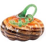 Boston International Decorative Handblown Glass Pumpkin Figurine, 7 x 5.25-Inches, Brown and Orange