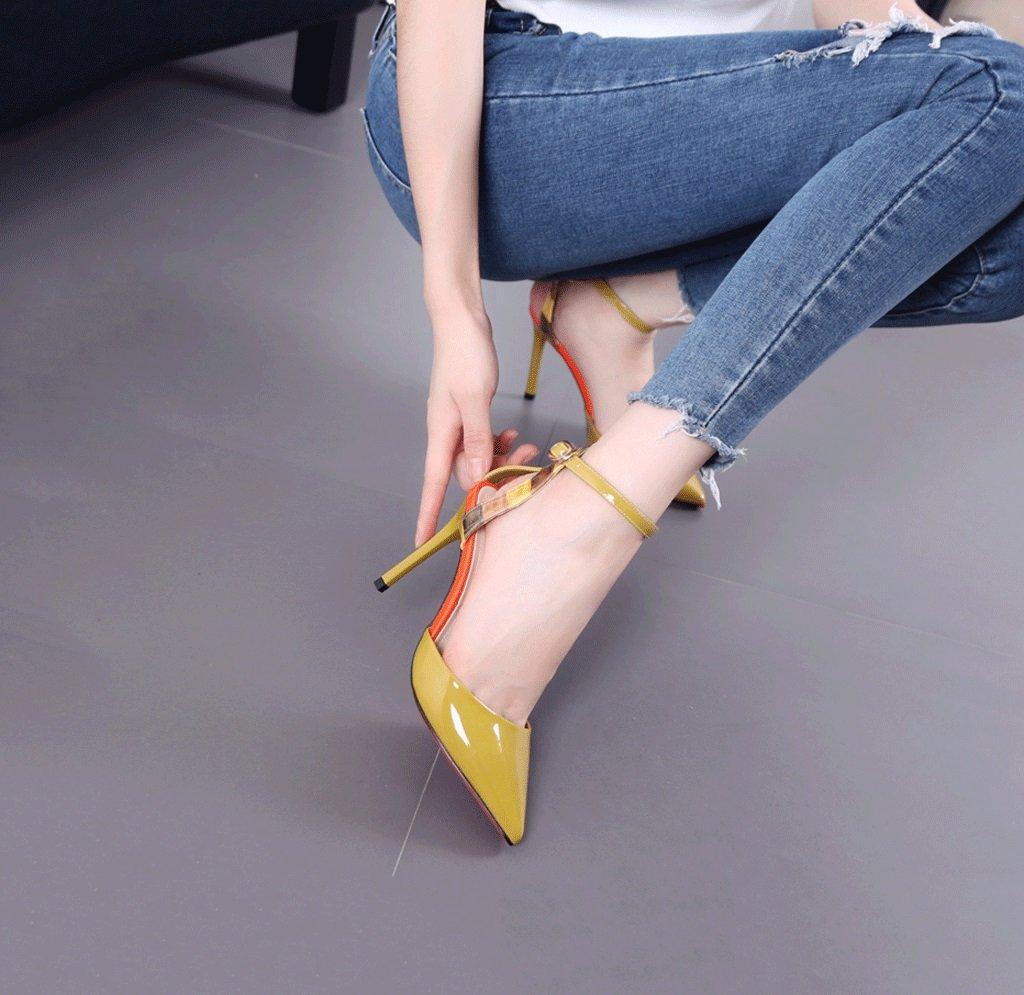 Gli Alti Talloni a Punta Punta Punta di Punta delle Donne Adattano a Scarpe Sexy Sexy della Bocca Sexy di Estate dei Sandali Comodi (colore   Giallo, Dimensioni   38) bc20a8