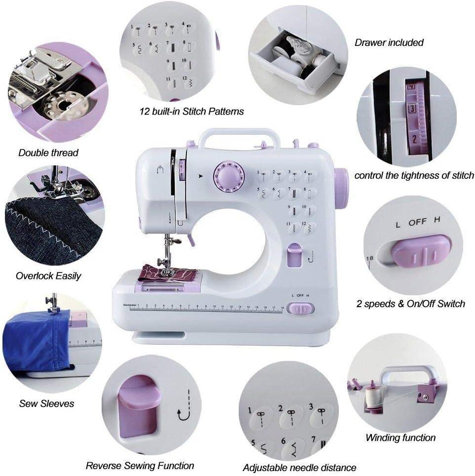 Zerrale Mini 12 Stiche N/ähmaschine Haushalt Multifunktionale Doppelfaden einfach zu Hause oder unterwegs zu bedienen f/ür die schnelle Reparatur von Kleidung