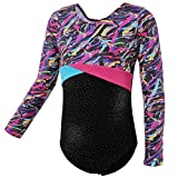HUAANIUE Girls Teamwear Dance Gymnastics Ballet Sparkle Mystique Leotard Short Sleeve MulticolorLong 9-10Y