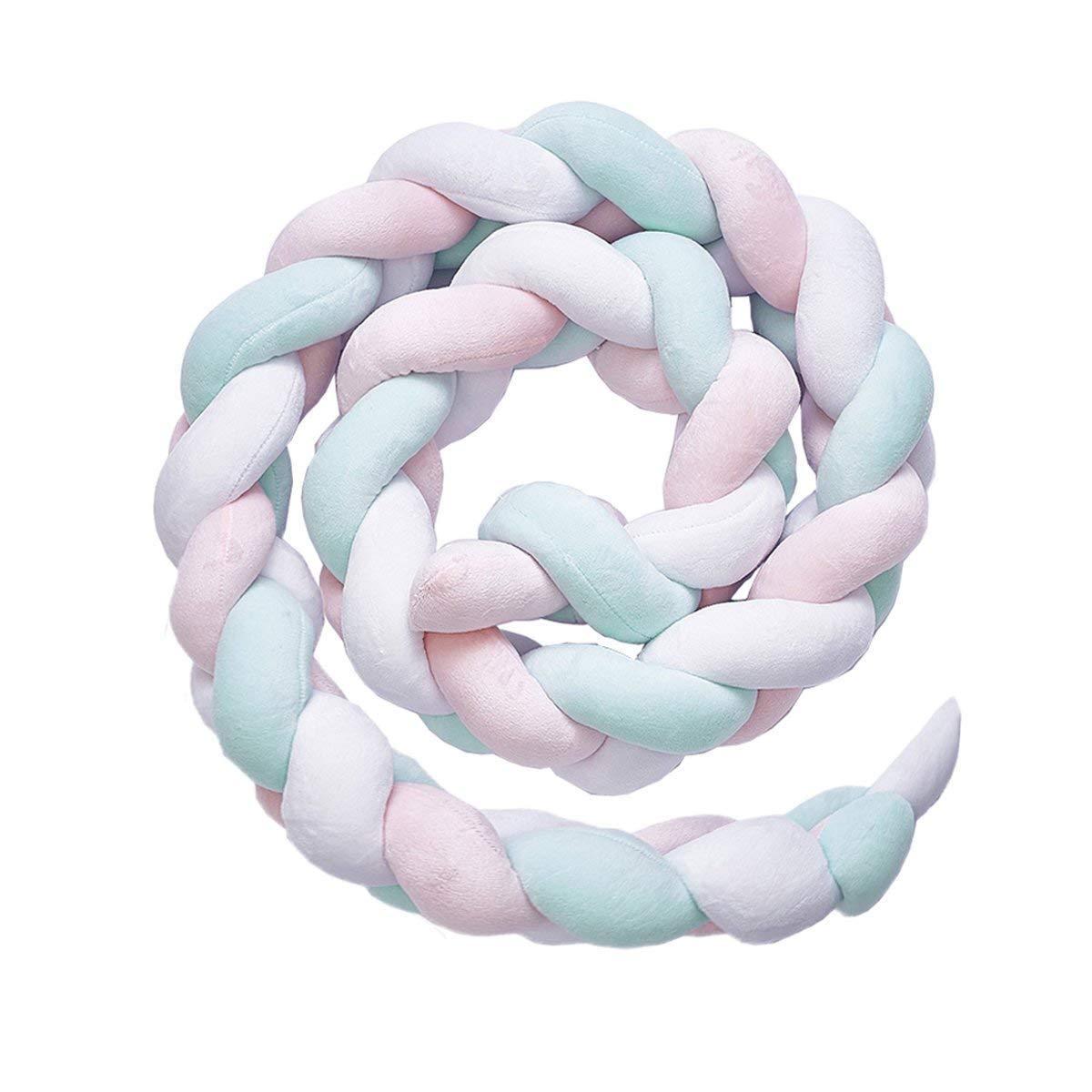 Cojín trenzado hecho a mano para el parachoques de bebé, cojín decorativo para la cama del bebé, suave para regalo, almohadillas para el parachoques de la cuna de bebé, cojín de peluche, decoración de la habitación del bebé (azul 200 cm) MIKAFEN
