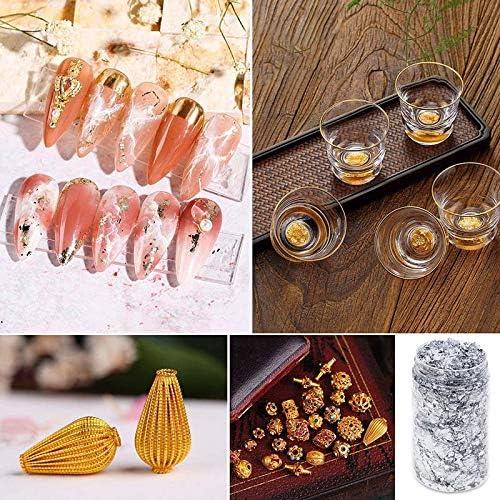 Schmuckherstellung Kunstharz DIY-Dekoration Keepbest Goldfolien-Flocken f/ür N/ägel 3 St/ück Malen Basteln