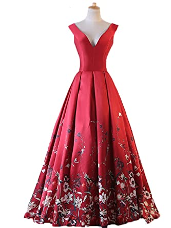 WDH Dress Elegant V Neck Long Prom Dress Red Printing Floral Evening Dress 28