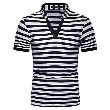 MOTOCO Hombre Camisa Polo de Manga Corta Casual Rayas en Blanco y ...