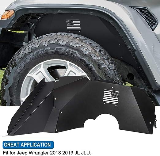 Opall Fits for Jeep Wrangler Front /&Rear Inner Fender Liners fit Jeep Wrangler 2018 2019 JL JLU US Logo Aluminum Lightweight Design Black Splash Guards Black